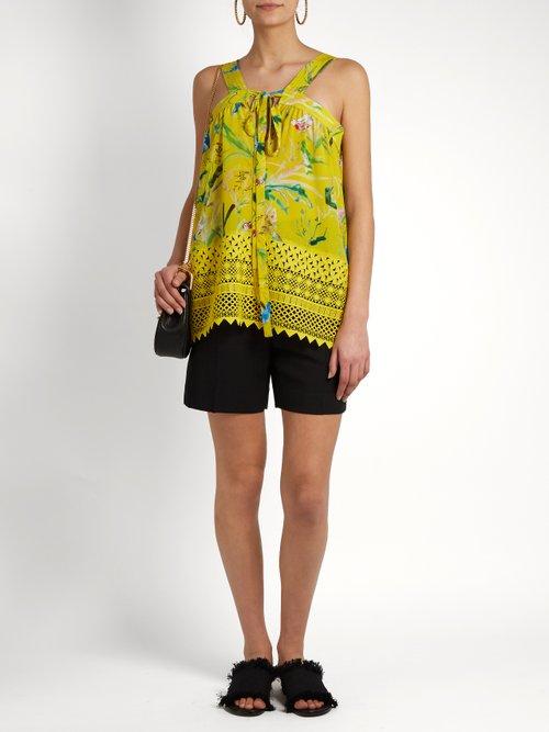 Lace-hem bird-print silk top by No. 21