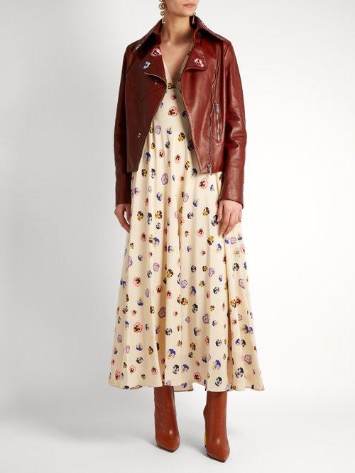 V-neck pansy-print silk dress by Christopher Kane