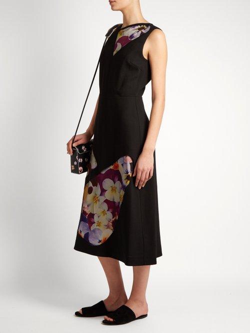 Sleeveless tulle-panel wool midi dress by Christopher Kane