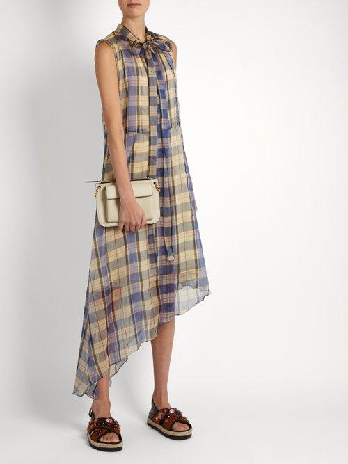 Asymmetric madras-checked midi dress by Marni