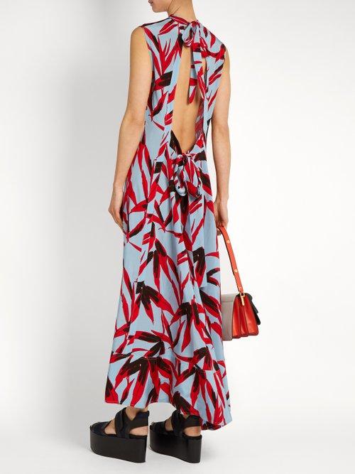 Bamboo-print high-neck sleeveless twill dress by Marni