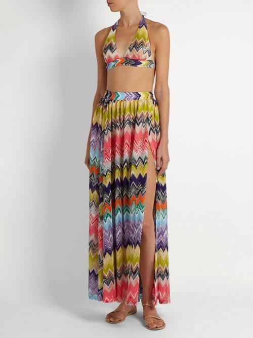 Zigzag-knit side-slit maxi skirt by Missoni Mare