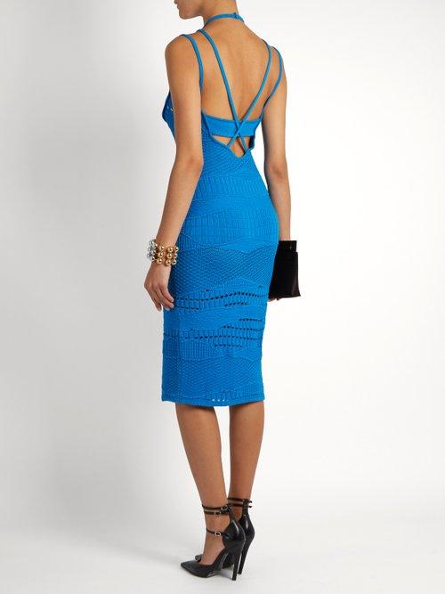 Sleeveless Crochet Knit Cotton Blend Dress by