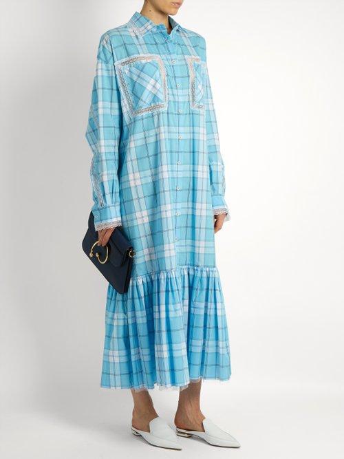 Checked lace-trimmed shirtdress by Natasha Zinko