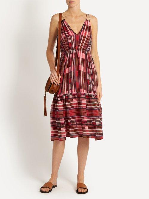 Daphne Borderlines-print silk dress by Apiece Apart
