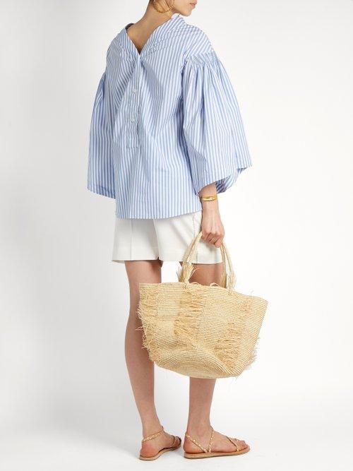 V-back striped cotton top by Teija