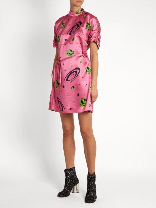 Planet-print duchess-silk dress by Miu Miu