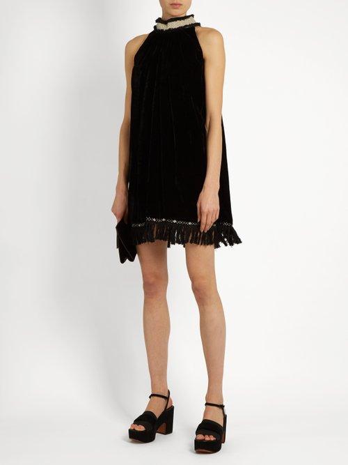 Olvera silk-velvet halterneck dress by Jupe By Jackie