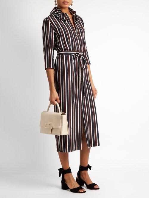 Striped exaggerated-collar silk midi dress by Nina Ricci
