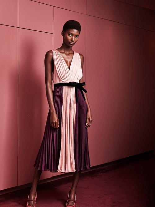 Kora tri-colour pleated satin dress by Roksanda