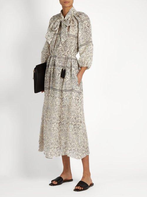 Caravan Bow batik-print linen smock dress by Zimmermann