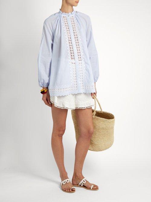 Photo of Zimmermann womens Caravan Pin Smock pinstriped cotton blouse online sale