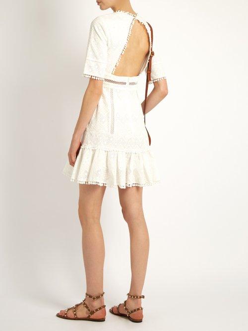Caravan ruffled-hem embroidered cotton dress by Zimmermann