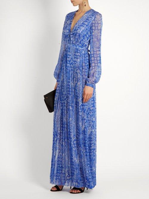 Anuska paisley-print silk-georgette dress by Raquel Diniz