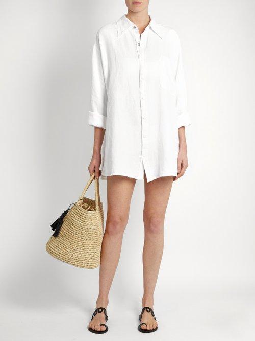 Oversized linen shirt by Roxana Salehoun