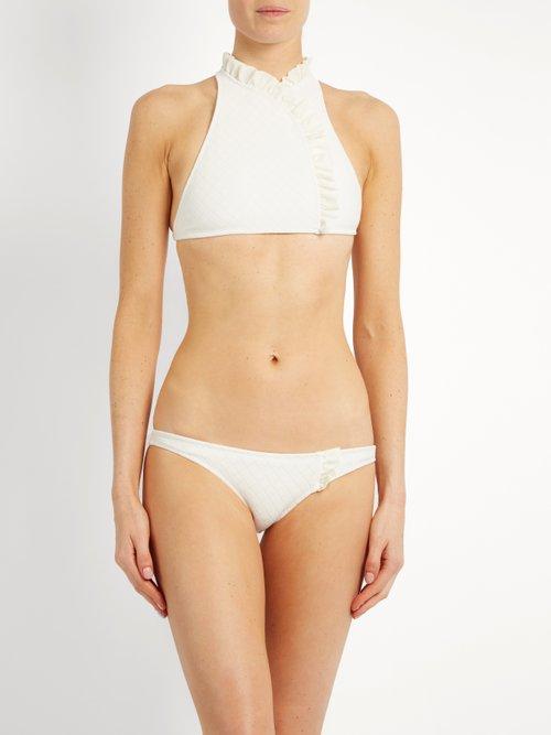 Jeanie ruffle-trimmed bikini top by Made By Dawn