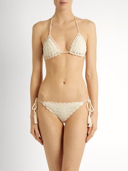 Crochet triangle bikini top by Anna Kosturova