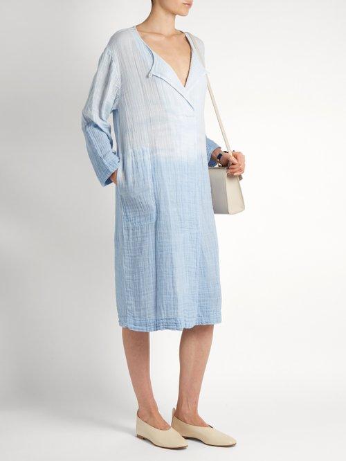 Round-neck long-sleeved cotton-gauze dress by Raquel Allegra