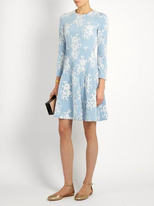 Kiera cotton-blend floral-lace dress by Huishan Zhang