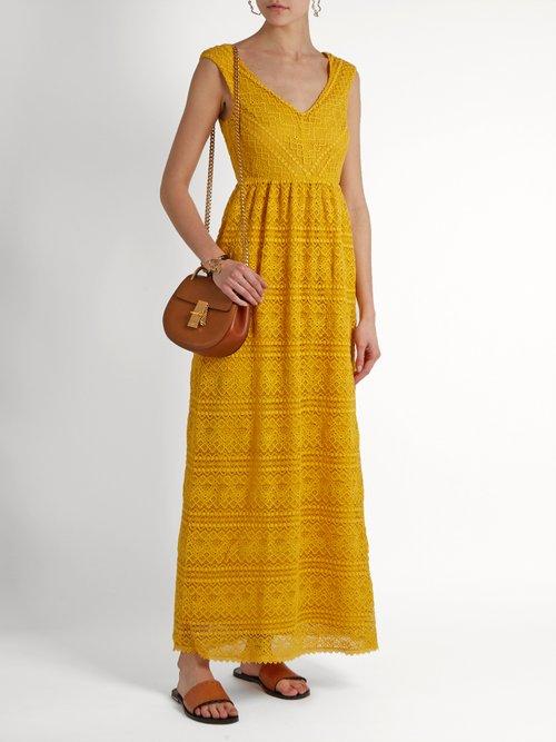 Sleeveless V-neck lace dress by Redvalentino