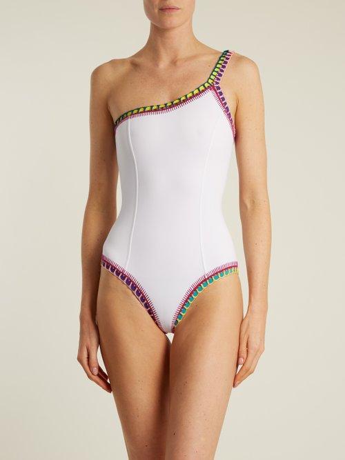 Yaz crochet-trimmed one-shoulder swimsuit by Kiini