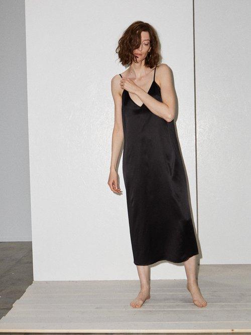 V-neck silk-satin midi slip dress by Raey