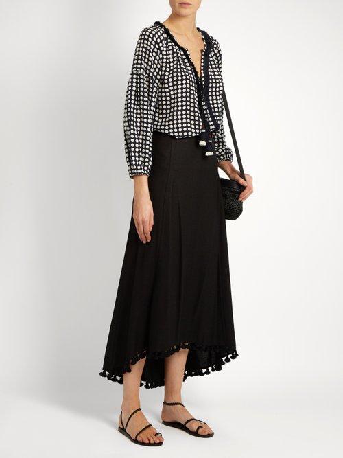 Matador tassel-embellished silk-blend skirt by Figue