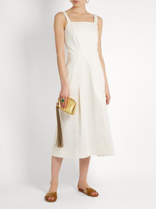 Square-neck denim midi dress by Adam Lippes