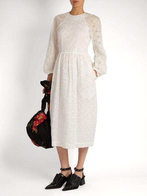Broderie-anglaise draped-back dress by Simone Rocha