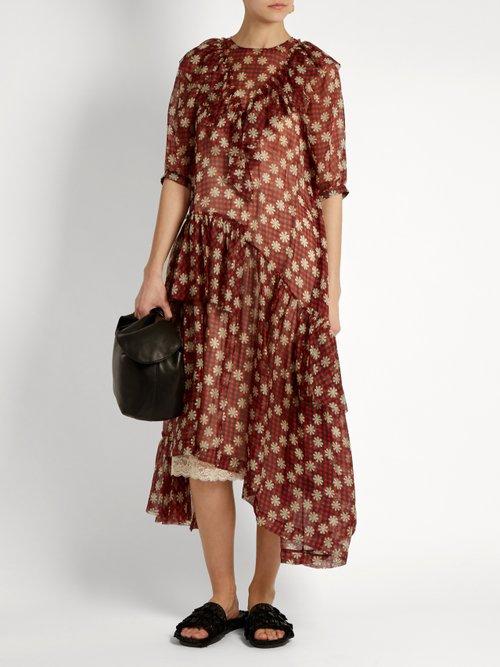 Ruffle-trimmed gingham chiffon dress by Simone Rocha