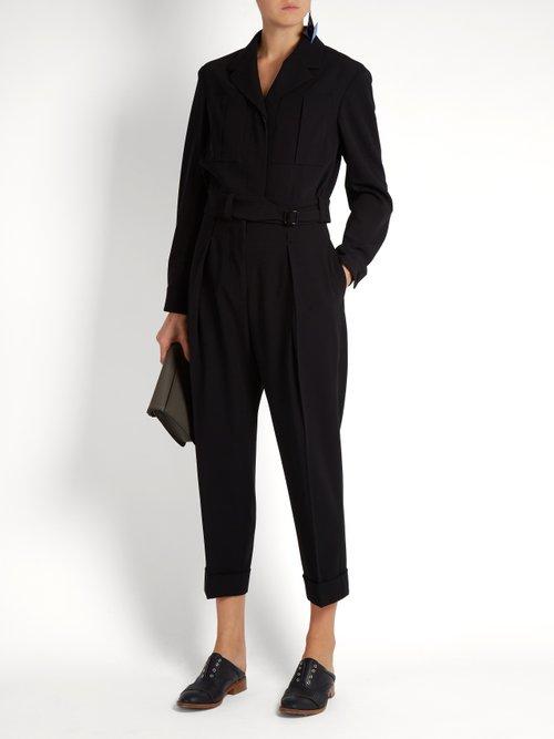 Belted wool cropped jacket by Bottega Veneta