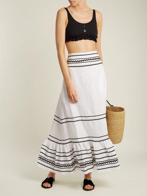 Fiesta ric-rac trimmed linen maxi skirt by Lisa Marie Fernandez