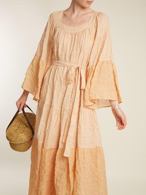 Ruffled Waist Tie Striped Cotton Blend Dress by Lisa Marie Fernandez