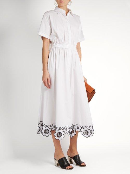 Embroidered-hem cotton-poplin dress by Christopher Kane