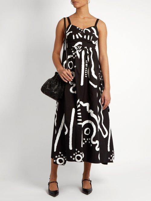 Tribal-print cotton-blend bustier dress by Isa Arfen