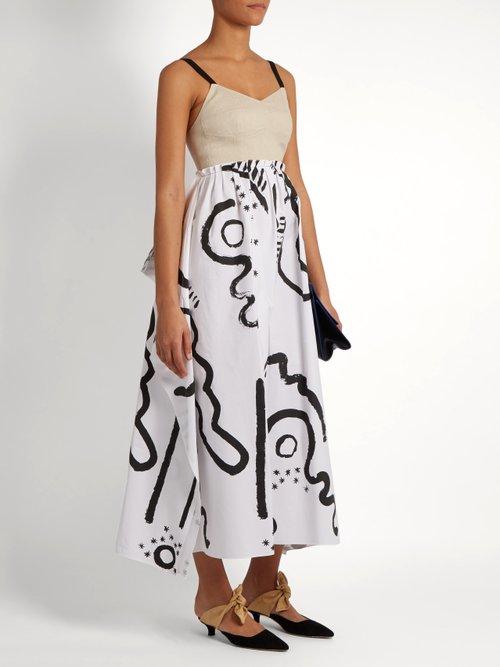 Tribal Print Cotton And Linen Blend Bustier Dress by Isa Arfen