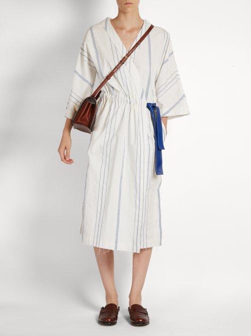 V-neck striped midi dress by Loewe