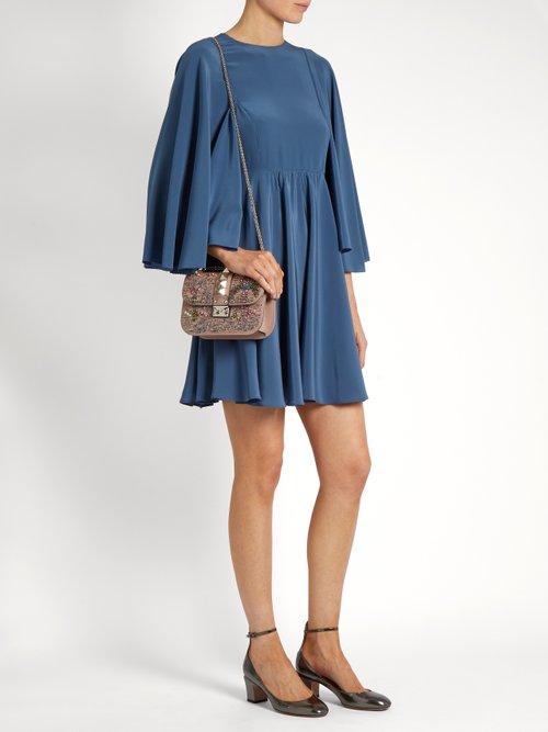 Cape-sleeve silk-georgette dress by Valentino