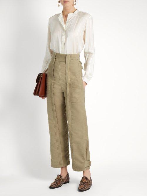 Eva twisted-stripe silk shirt by Stella Mccartney
