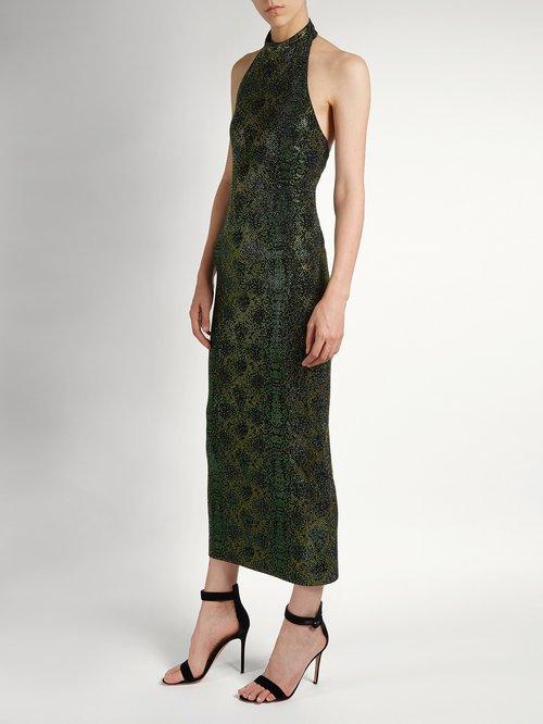 Shop Balmain Crystal-embellished halterneck dress online sale