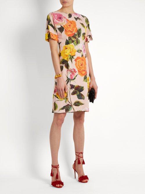 Rose-print cady dress by Dolce & Gabbana