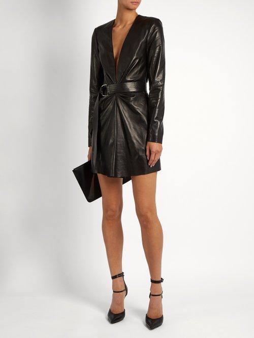 Deep V-neck leather mini dress by Saint Laurent