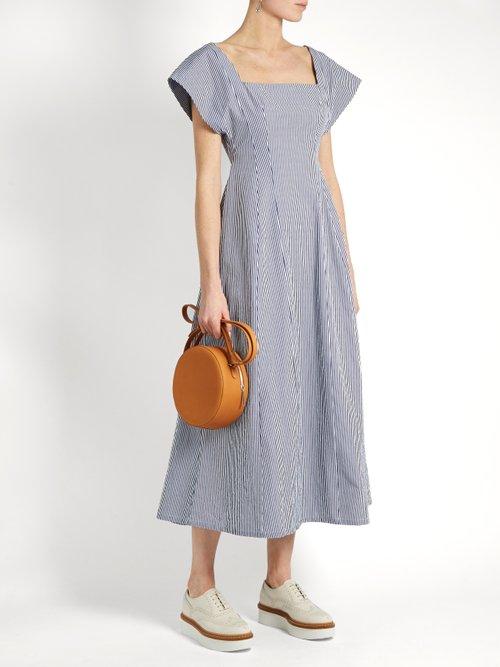 Square-neck striped cotton dress by A.W.A.K.E.