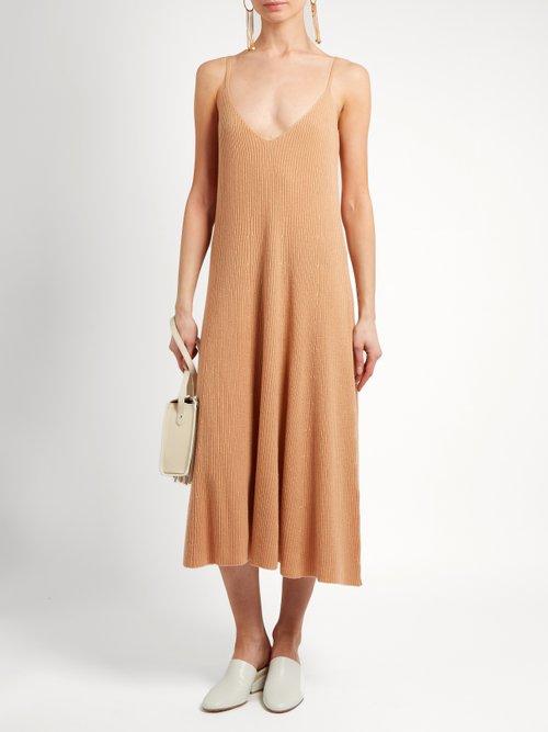 V-neck ribbed-knit cashmere midi dress by Ryan Roche