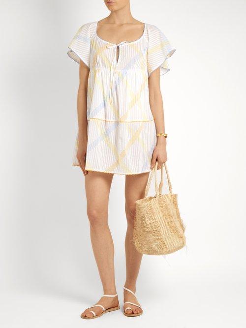 Raffia stripe-print cotton-voile dress by Thierry Colson