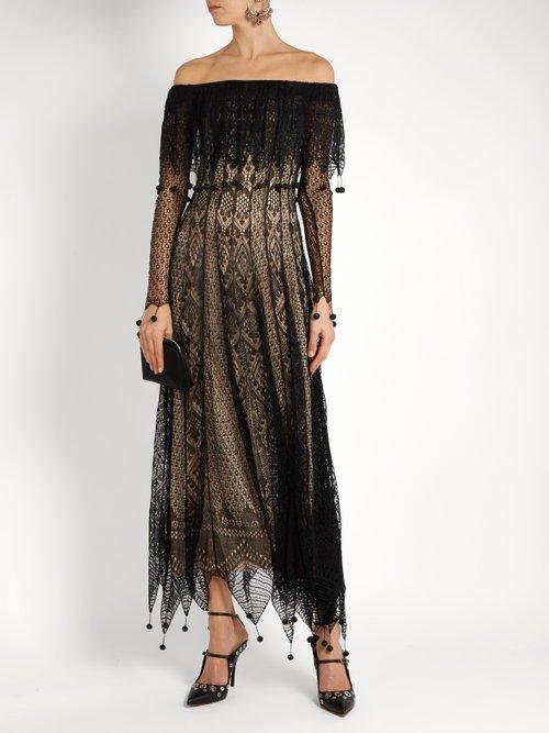 Off The Shoulder Pompom Embellished Lace Dress by Alexander Mcqueen