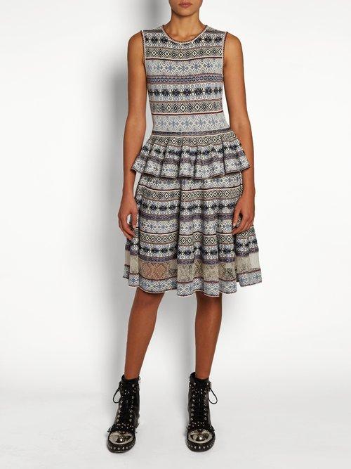 Fair Isle-jacquard peplum-hem dress by Alexander Mcqueen