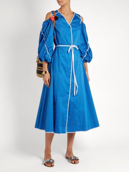 Ric-rac cotton-poplin dress by Anna October
