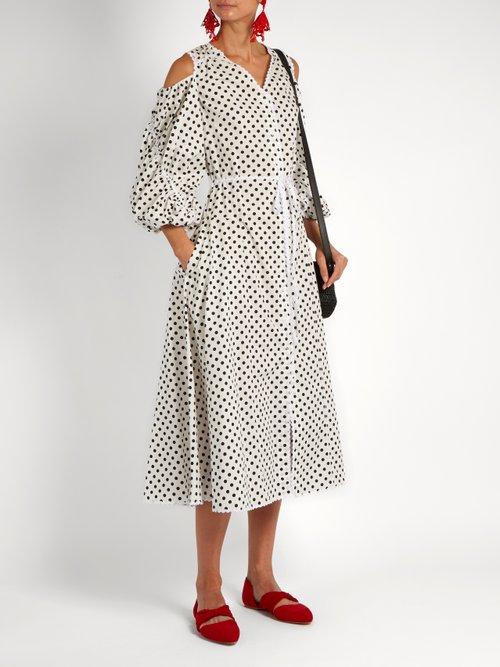 Polka-dot cotton-poplin dress by Anna October