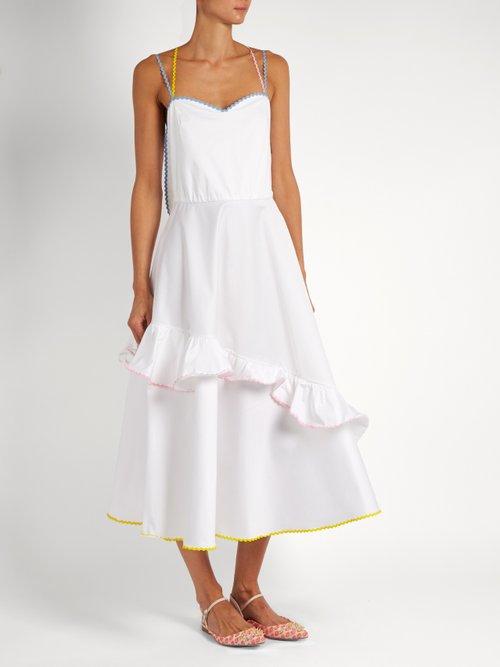 Ric-rac trim stretch-cotton dress by Anna October